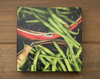 Clearance - Handcrafted 4x4 Wood Photo Block - Green Beans