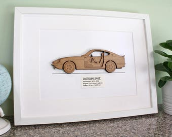 Datsun 240Z Blueprint, Laser Cut Wood, Datsun 240Z, Datsun Blueprint, Datsun Decor, Z Car, Datsun Gift, 240Z, 260Z, 280Z, Datsun, 8x10 or A4