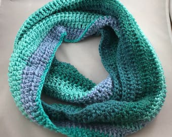 Blue and Green Striped Infinity Scarf Crocheted Handmade