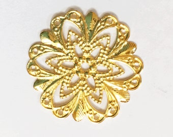 gold plated brass  filigree flower focal 20mm, gold filigree connector