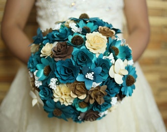 Wooden Flowers Bouquet- Teal, Ivory and Brown Rustic  Wooden Bouquet for Wedding and Home Decor Centerpiece
