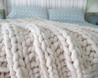 Chunky Knit Blanket, 32x48, Pure Merino Wool, knit blanket, throw, trending