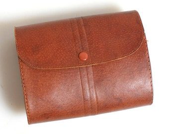 1940s Brown Leather Case//Purse//Handbag//Evening Bag