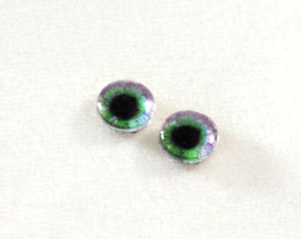 6mm Purple and Green Fantasy Eye Glass Cabochons - Tiny Glass Eyes for Doll or Jewelry Making - Set of 2