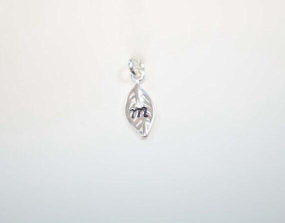 ADD LEAF CHARM Leaf Initial Charm - Sterling Silver or Gold Vermeil