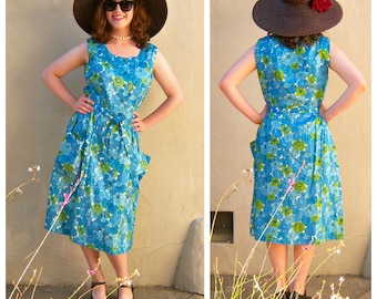 50s 60s floral dress / aqua blue green vintage day dress / satin tea dress / 50s party dress / 40 bust, 30 waist small medium
