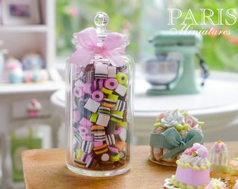 MTO-Large Jar of English Candy - Licorice Allsorts - all Loose - Miniature Dollhouse Food
