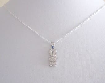 Little CZ RABBIT BUNNY sterling silver charm with chain necklace, woodland jewelry, animal jewelry