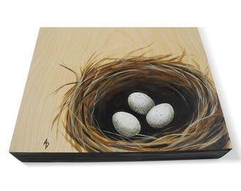 Bird nest painting - nest with eggs - bird's nest art - nature mothers day gift - bird eggs in a nest - natural woodgrain - bare wood panel