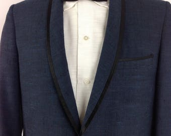 Dinner Jacket 1970's Deep Blue Brocade Made By after Six Y0cz7fhqno