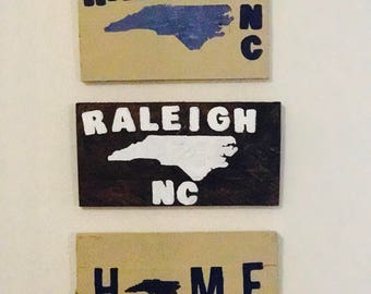Raleigh, North Carolina state rustic pallet sign