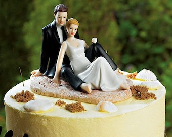Lounging On The Beach Romantic Wedding Cake Topper With Custom Hair Colors