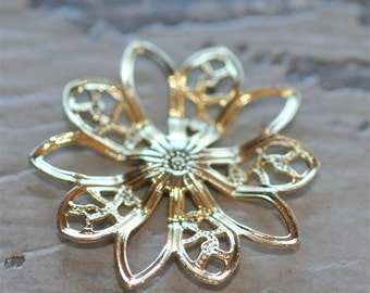 Set of 6 Brass Gold Filigree Flower piece 20mm connector