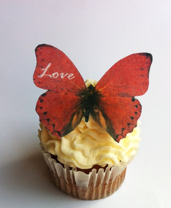 The Original EDIBLE BUTTERFLIES  - Love Personalized - Cake & Cupcake toppers - Food Decorations