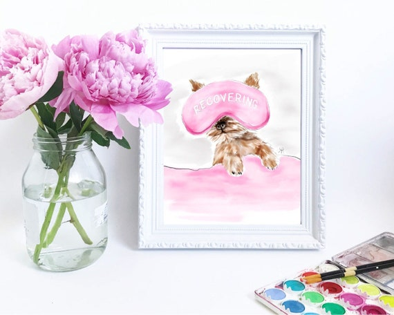 Yorkie, yorkie lover, dog lover, girly girl art, girly art, girly watercolor, relax, gifts for her, sleeping, snooze, Yorkshire terrier