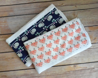 Sloth and Fox Cloth Diaper Burp Cloth Set, Burpie, Burpee, Baby Boutique, Baby Girl Gift, Shower Gift, Infant Gift,  Burpie Set