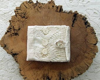 Handmade Needle Book Made From Vintage Linens and Lace