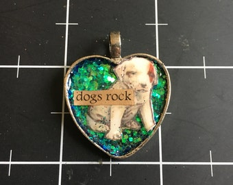 Dogs Rock, Cute Vintage-style Puppy Heart Pendant, 50% goes to the current focus charity