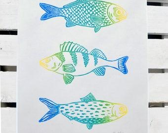 Fish print, linocut, home decor, handmade, linoprint