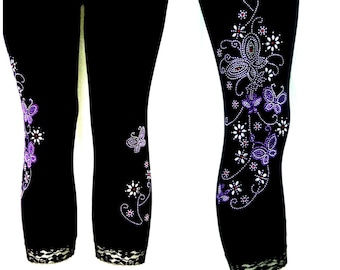 Plus Size Capri Length Leggings Embellished Rhinestone Purple Butterfly Floral Design