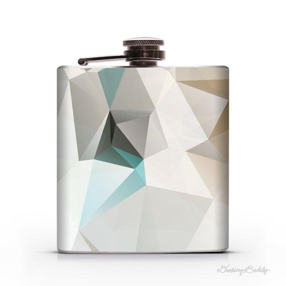 Turquoise Gold Geometric - 6oz Whiskey Hip Flask