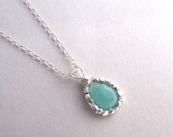 Amazonite Necklace, Blue Gemstone Necklace, Sterling Silver Pendant Necklace, Aqua Necklace