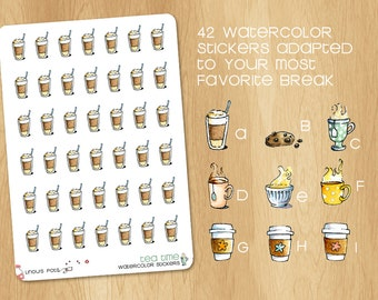 Choose Your Own 42 Watercolor Stickers for Your Most Favorite Break Time