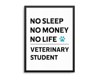 Veterinary Student Poster, Funny Vet Wall Art, Vet School Art Print, Veterinary Art, Dorm Decor, Vet Student Gift, Funny Veterinary Poster