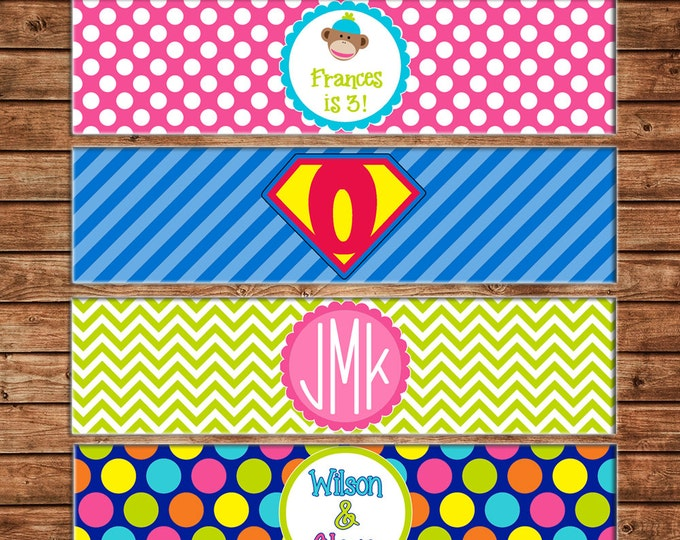 15 Water Bottle Labels Printed on Heavy Cardstock - Made to match ANY of my invitations