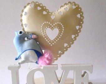 tiny baby bunny in blue pink ornament plush Soft Sculpture bunny rabbit companion decoration stuffie disney princess