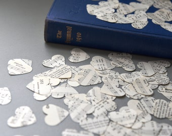 Vintage Paper Hearts from 1940's Hymnal // Heart confetti // Paper hearts // Wedding decor