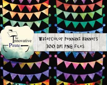 Rainbow Watercolor Pennant Banner - Watercolor banners - birthday party banners - birthday clipart - watercolor clip art - bunting banners