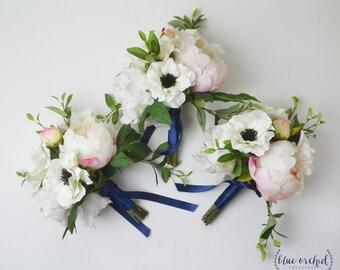 Bridesmaid Bouquet, Silk Flower Bouquet, Peony Bouquet, Blush Pink Bouquet, Anemone Bouquet, Wedding Bouquet, Wedding Flowers,Rustic Wedding