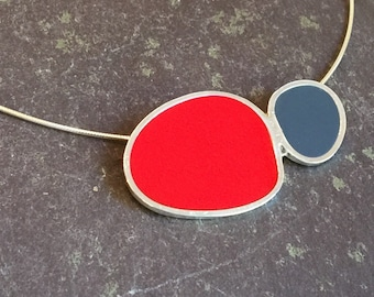 Women's Contemporary Handmade Silver and Resin Enamel Pendant in Red and Grey