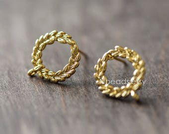 Circle Earring Posts with Loop, Gold Plated Brass, Lead Nickel Free (GB-076)/ 10pcs =5 pairs
