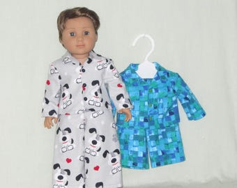 18 inch Boy Doll Pajamas fits theAmerican Girl Boy Doll Logan Flannel Pajamas Puppy or Squares