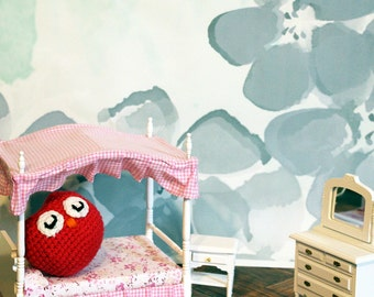 Red Owl Stuffed Animal, Crochet Amigurumi Plush Toy