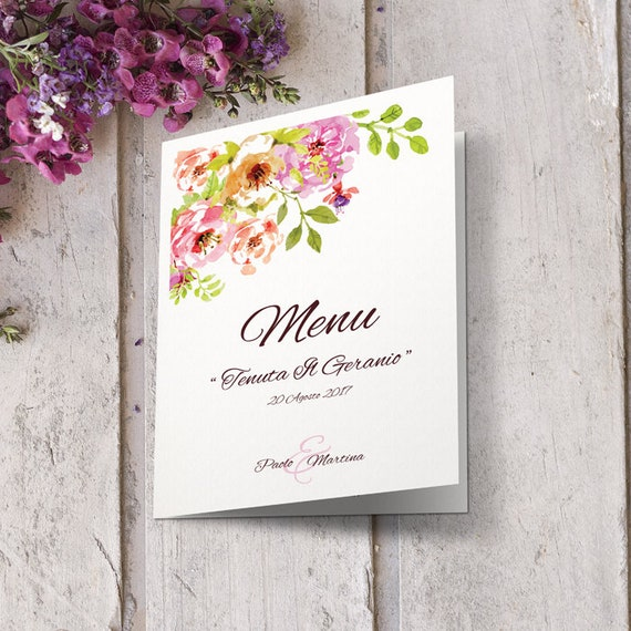 Wedding menu with pink flowers and pink powder may be mightylinksfo
