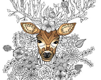 Deer among flowers