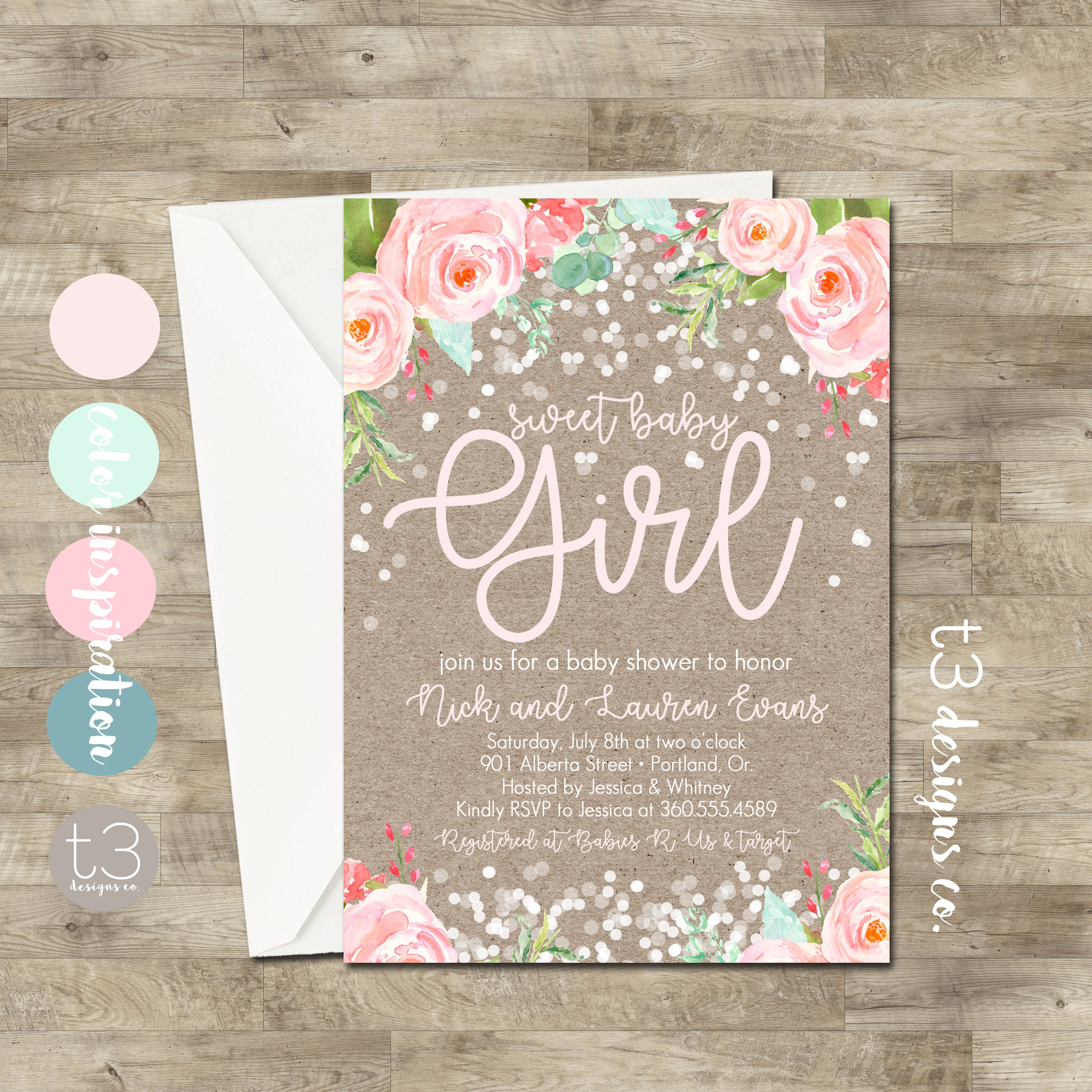 Rustic Confetti Baby Shower Invitation, girl baby shower invitation ...