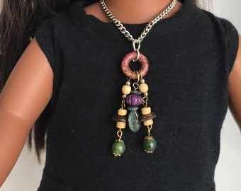 Green and brown 6 inch pendant necklace fits 18 inch dolls, gypsy jewellery, costume jewellery, custom made jewellery for 18 inch dolls