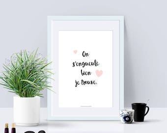 A4 - Poster - One commutes well - love, quote, poster quote, black and white, valentine, statement, sweetheart, couple - A