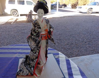Vintage Japanese Geisha Doll n Brocade Kimono  Excellent Detail  18 inches high Gorgeous hair and applied eyes that shine like real.