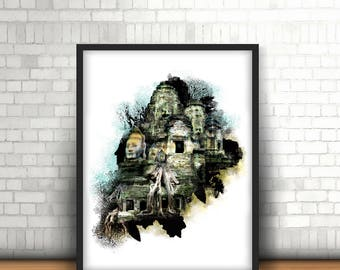 Cambodia Photo,Cambodia print, Cambodia art print, Fine art print, Giclée print, Photomontage, Ankor Wat, Budda photograph, Wall art print