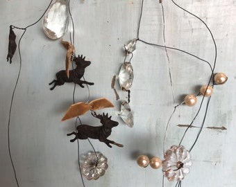 """Tree garland,Vintage crystal wired garland,christmas tree garland,antique beads ,3 deer with antlers hanging on garland 36"""""""