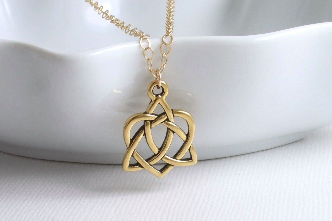 Open heart triquetra celtic knot necklace 14k gold filled zoom buycottarizona Image collections
