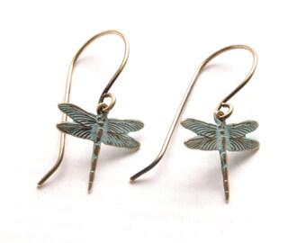 Dragonfly Earrings Verdigris Earrings Aqua Turquoise Earrings Brass Dangle Earrings Boho Earrings Art Nouveau Jewelry Victorian Curiosities