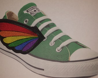 Rainbow pride shoe wings in the hoop embroidery design ith