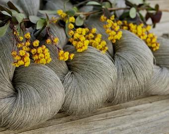 Linen Yarn - Natural grey linen thread