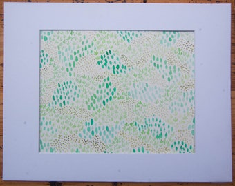 Emerald Moss 9x12 watercolor painting (matted to 8x10)